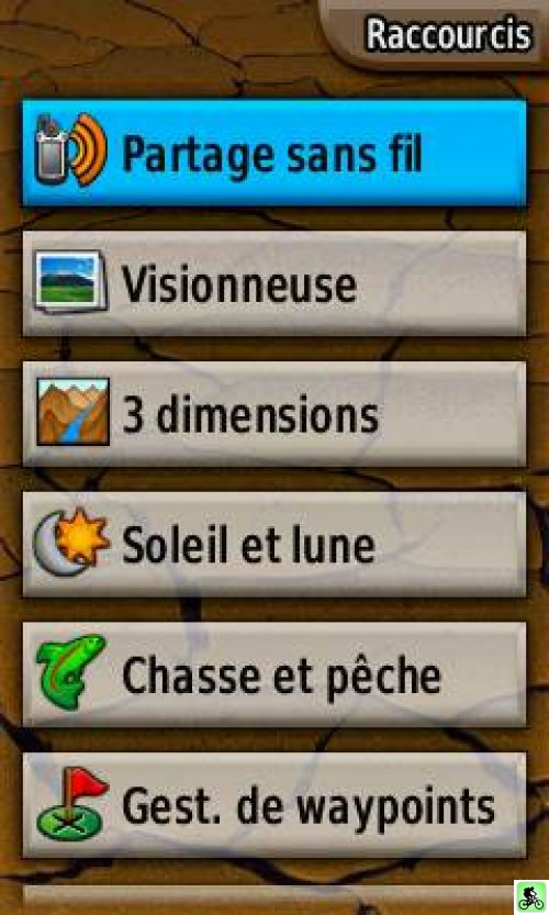 Capture d'écran du menu du GPS colorado 300